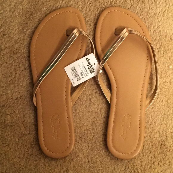 3a00a833546 BRAND NEW Rose Gold Flip Flops. NWT. Charlotte Russe.  7  8. Size. 6